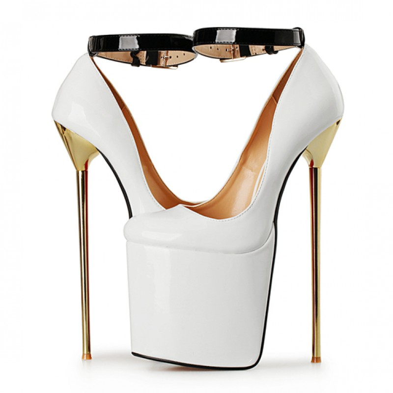 White Patent Leather Platforms Gold