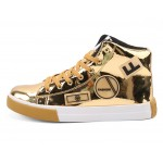 Gold Metallic Patches Lace Up High Top Mens Sneakers Shoes