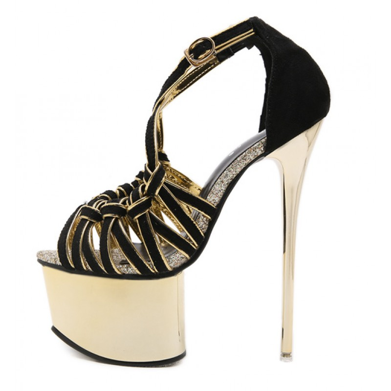 07caf04d Black Gold Strappy Crisscross Platforms Stiletto Super High Heels Sandals  Shoes