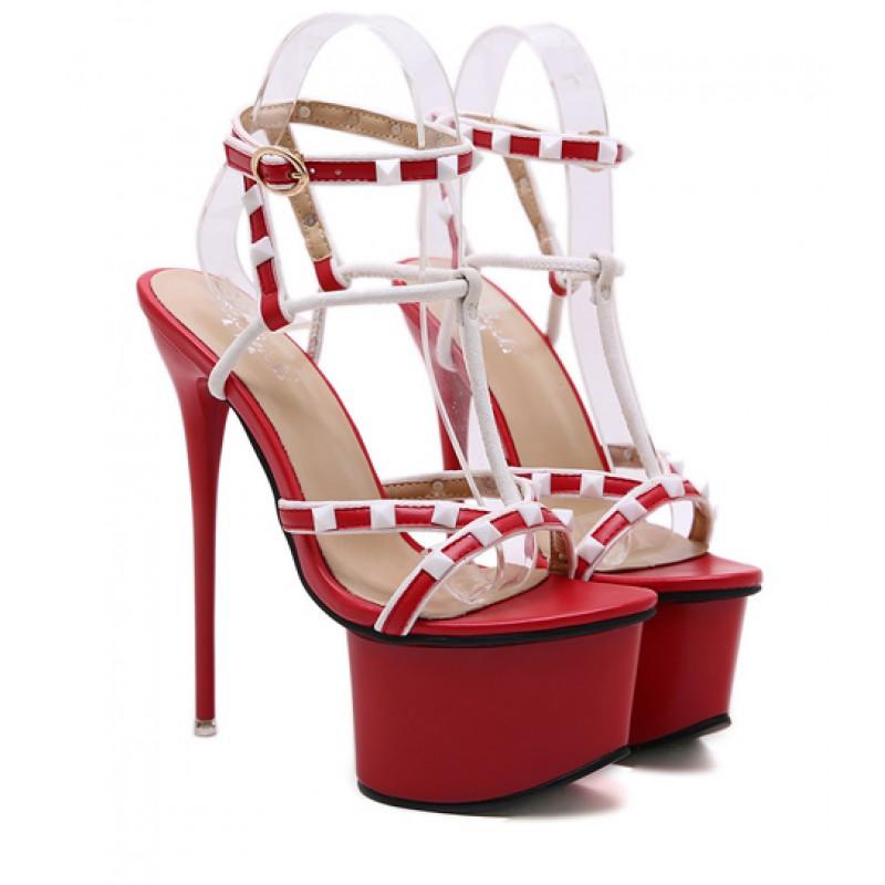 high heels sandals red