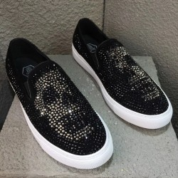 Black Skull Diamantes Punk Rock Mens Loafers Flats Sneakers Shoes