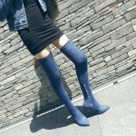 Blue Denim Jeans Pointed Head Long Knees Thigh Stiletto High Heels Boots Shoes