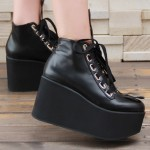 Black Lolita Platforms Punk Rock Chunky Heels Mary Jane Creepers Shoes