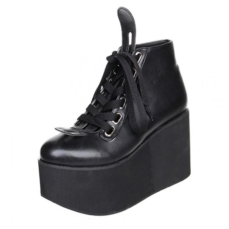 Black Lolita Platforms Punk Rock Chunky