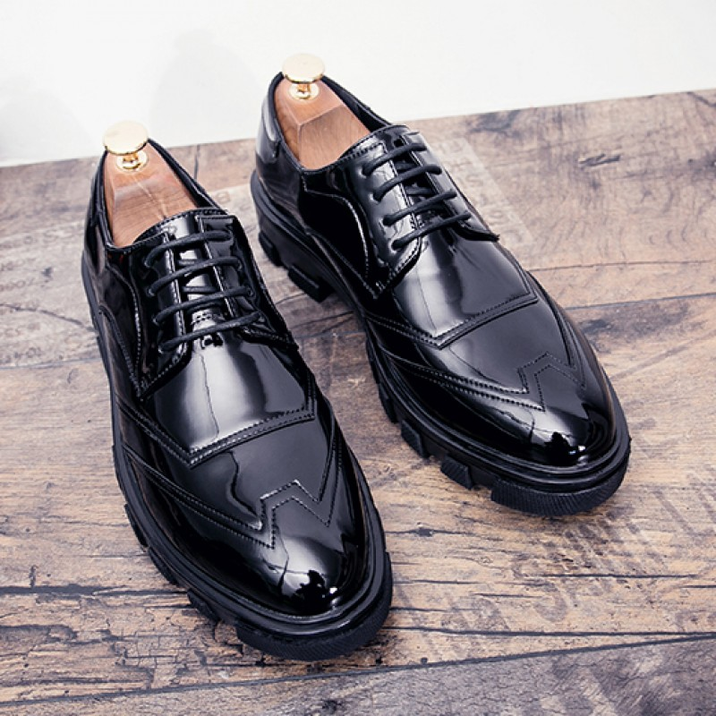 Black Glossy Patent Leather Thick Sole Lace Up Oxfords