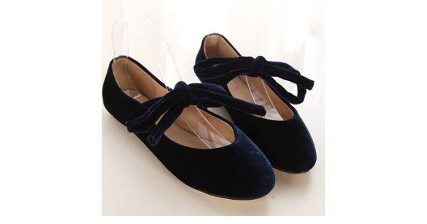 38c4d3dd6fc0 Blue Navy Velvet Cross Straps Round Head Flats Mary Jane Ballets Ballerina  Shoes