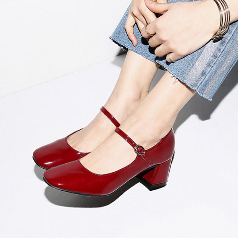 black mary jane block heel shoes