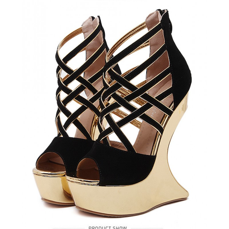 c9eab5294f2 Black Gold Crisscross Strappy Platforms Weird Heels Wedges Sandals Shoes