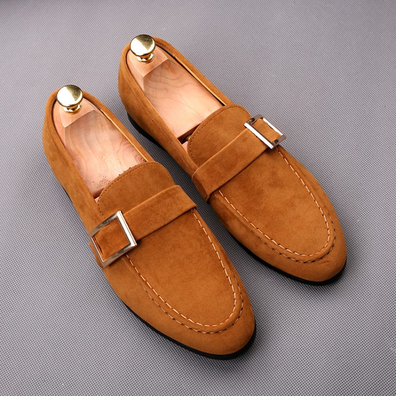 Brown Giant Buckle Suede Mens Dappermen Dapper Men Loafers Flats Shoes