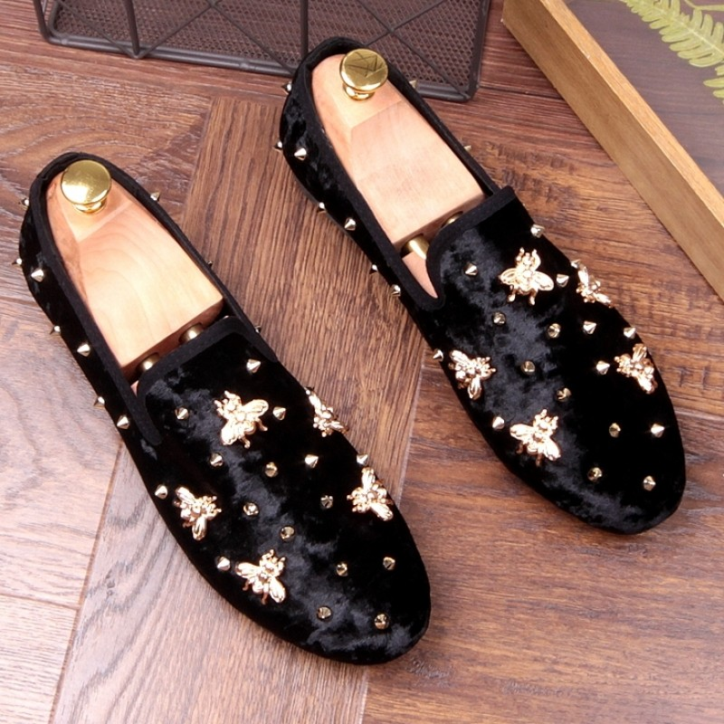 b2c3c156acd Black Suede Gold Bees Spike Studs Punk Rock Mens Loafers Flats Dress Shoes
