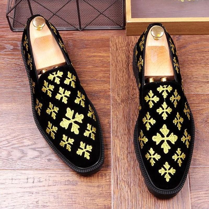 Black Suede Gold Embroidery Fleur-De