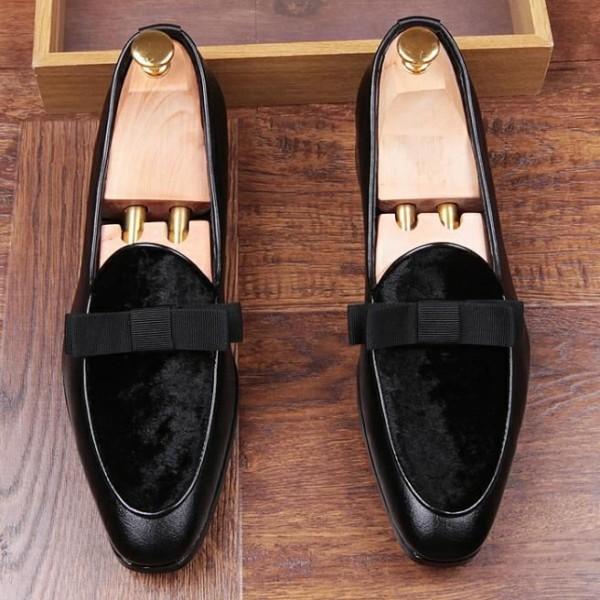 Black Velvet Suede Bow Mens Oxfords Loafers Dress Shoes Flats