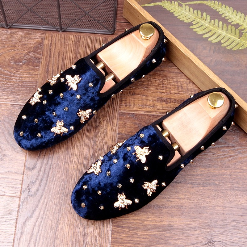 Blue Navy Suede Gold Bees Spike Studs
