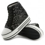 Black Glitter Bling Bling Lace Up High Top Platforms Hidden Wedges Sneakers Shoes