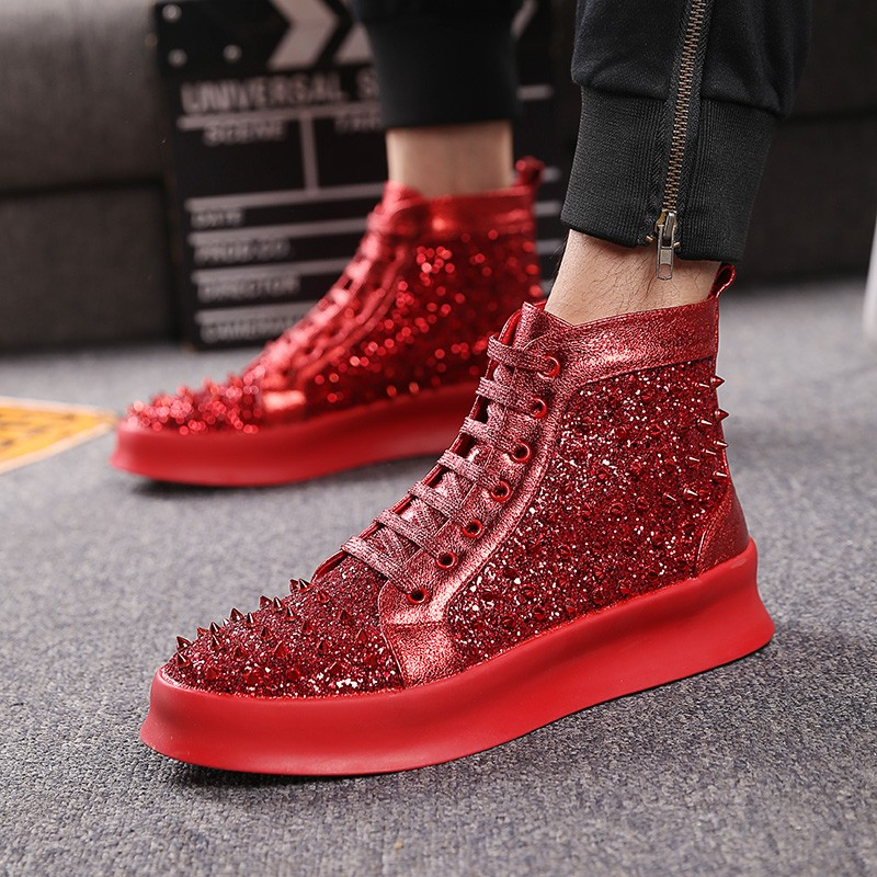 Red Glitter Bling Bling Spikes Lace Up