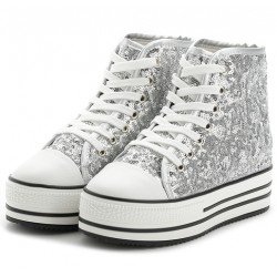 Silver Glitter Bling Bling Lace Up High Top Platforms Hidden Wedges Sneakers Shoes