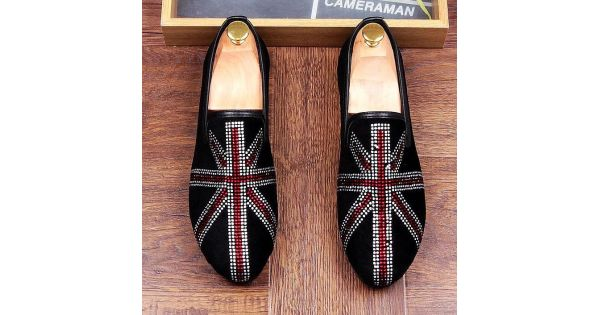 Black Suede Crystals Jack Union Mens Flats Loafers Dapper Mens Dappermen  Shoes