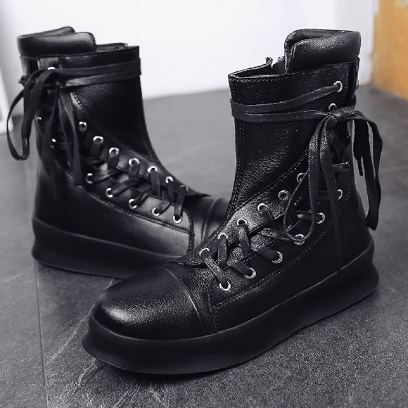 2368f6c9e457 Black Side Lace Up High Top Mens Sneakers Shoes Boots