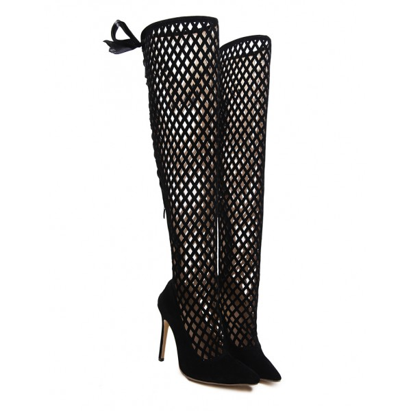 Black Suede Bird Cage Hollow Out Point Head Ribbons Stiletto High Heels Knee Boots