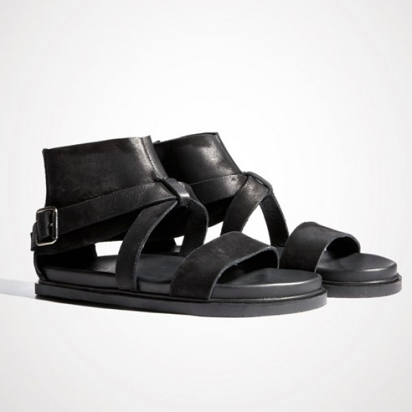 Black High Top Ankle Cross Straps Mens Gladiator Roman Sandals Shoes
