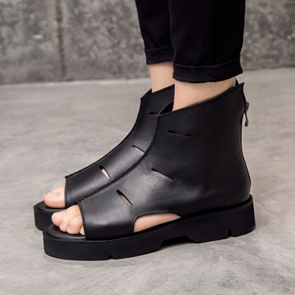Black High Top Platforms Mens Gladiator Roman Sandals