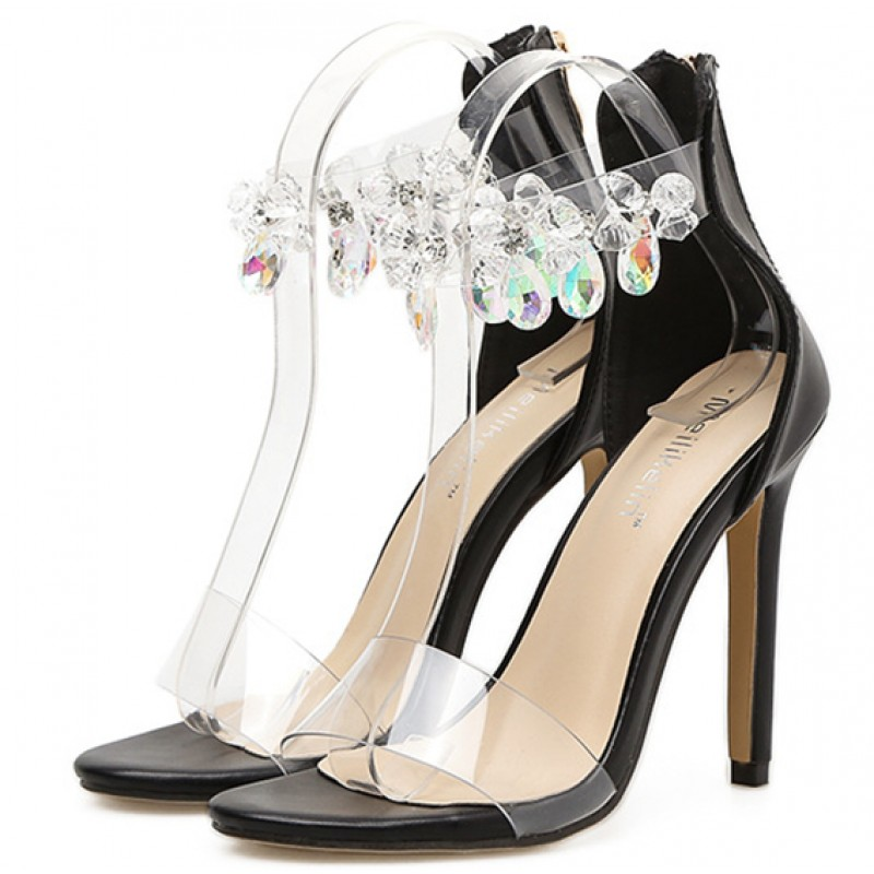 1e16ac9665a Black Ankle Strap Bling Bling Gems Evening Stiletto High Heels Sandals Shoes