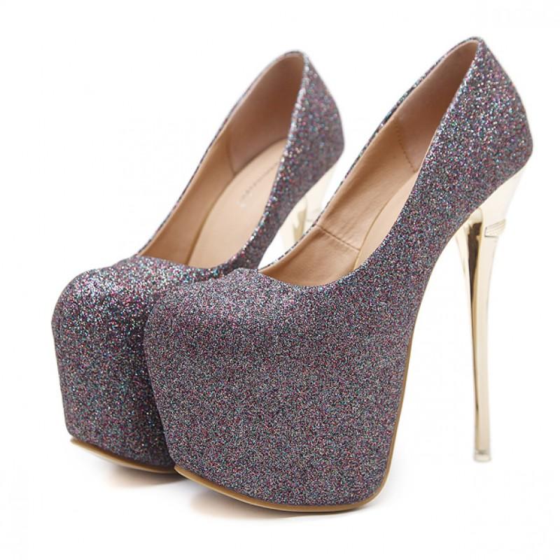 07bb3d416e4 Grey Glitter Bling Bling Platforms Stiletto Gold Super High Heels Shoes