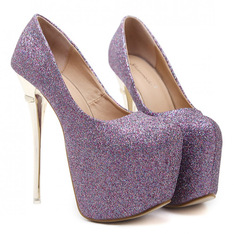 587ae6527f5 Purple Glitter Bling Bling Platforms Stiletto Gold Super High Heels Shoes