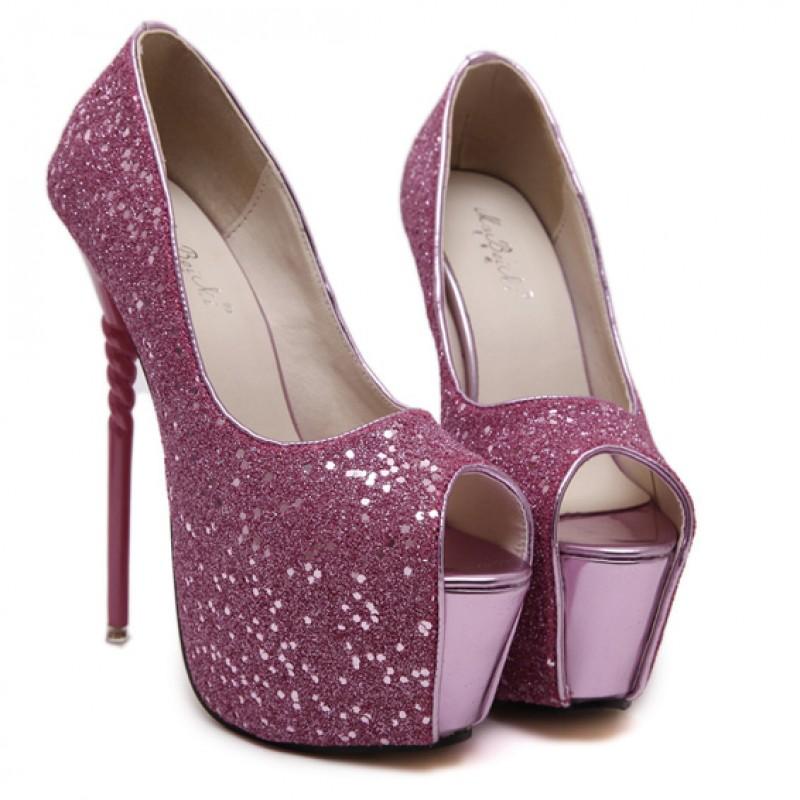 e4b2c7e0f77 Purple Glitter Bling Bling Platforms Stiletto Peep Toe Super High Heels  Shoes