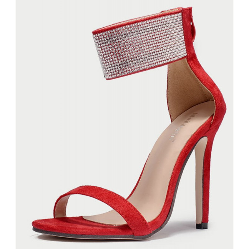 ee73f22e5 Red Suede Diamante Bling Bling Ankle Straps Evening Stiletto High Heels  Sandals Shoes
