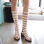 White Thin Strappy Straps Cleated Sole Gladiator Boots Mid Heels Sandals Shoes
