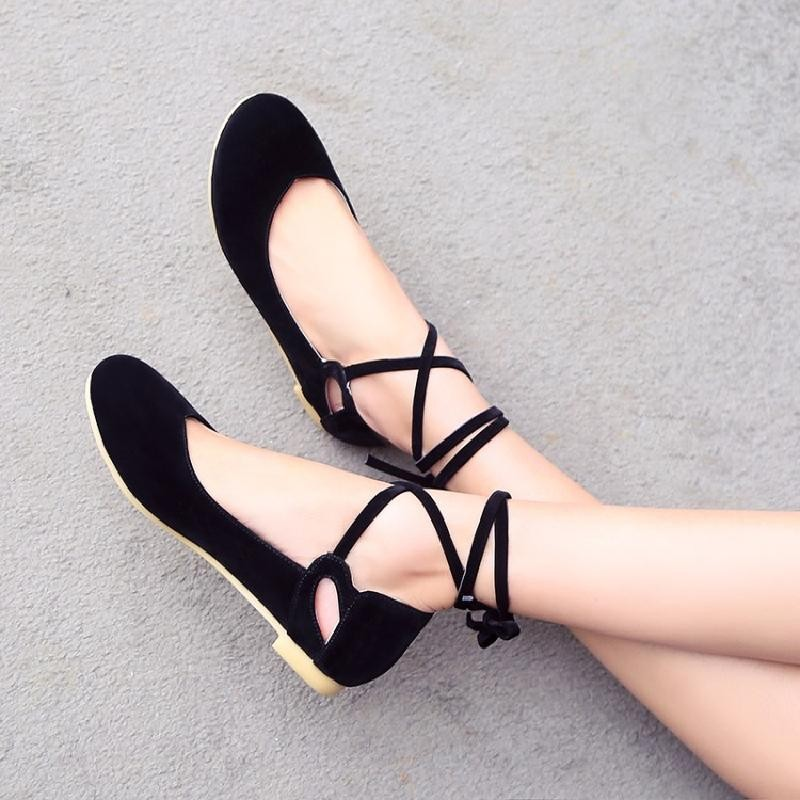 Black Suede Ankle Lace Up Strappy