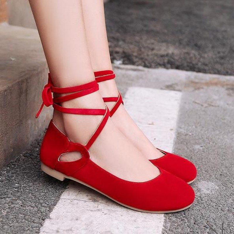 Red Suede Ankle Lace Up Strappy Ballets