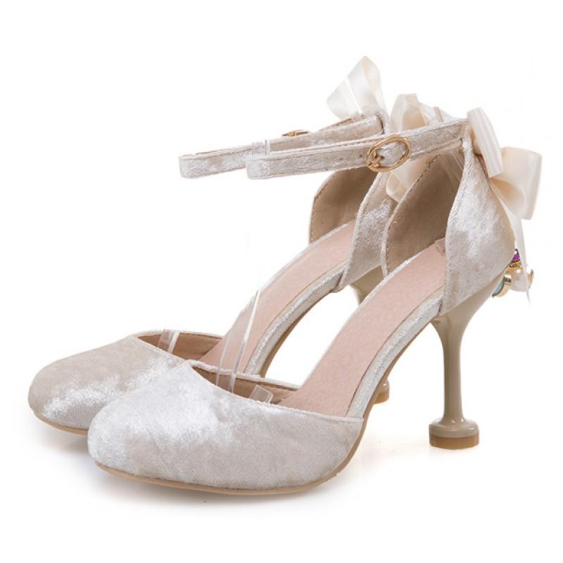 063d7ac8c11 White Velvet Point Head Baroque Vintage Back Bow Diamante High Heels