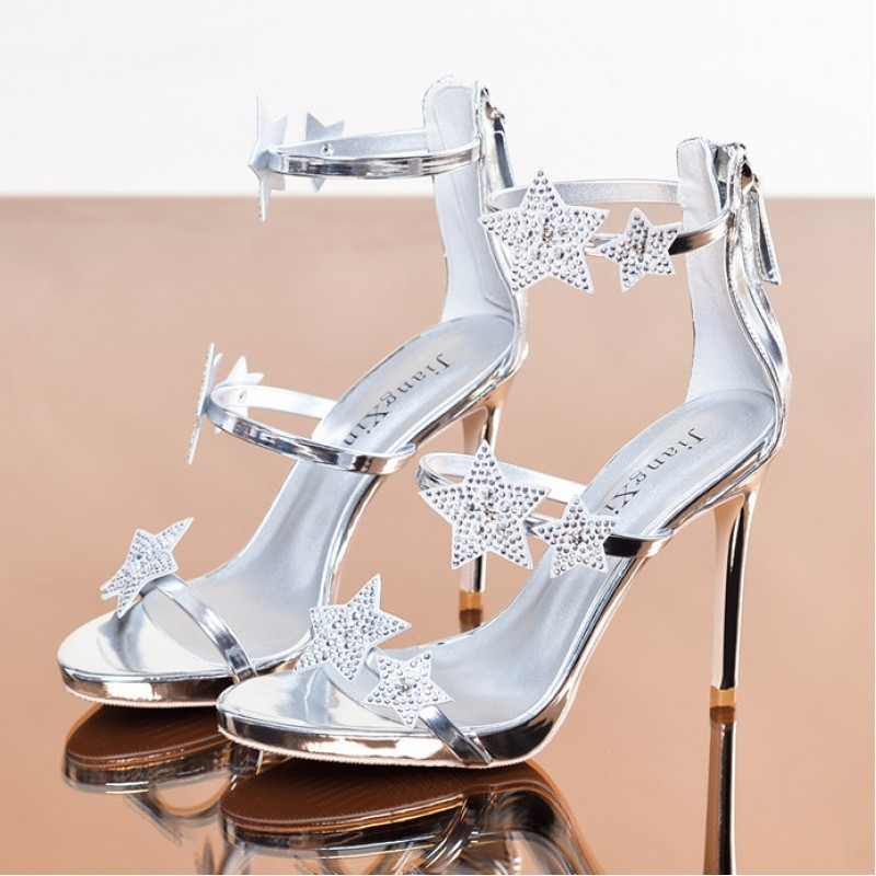 Womens Silver Glitter Mid Heel Strappy Crossover Sandals |Silver Glitter Strappy Heels