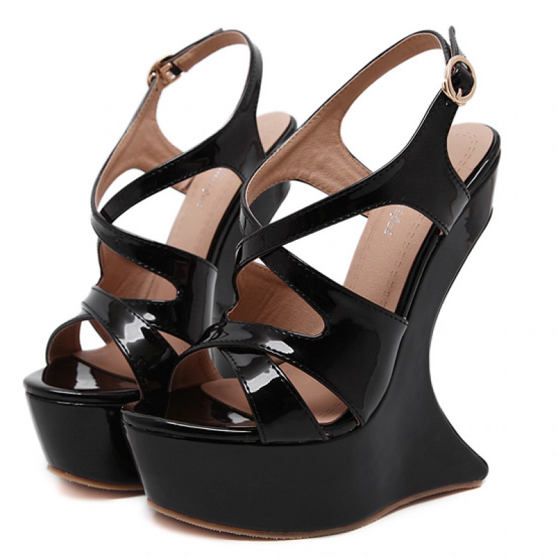Details about  /Patent Leather Womens Square Toe Hollow Out Straps Platform Wedge Heels Sandals