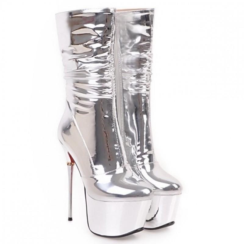 Silver Metallic Mirror Shiny Platforms