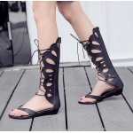 Black Hollow Out  Butterfly Lace Up Gladiator Boots Sandals Flats Wedges Shoes