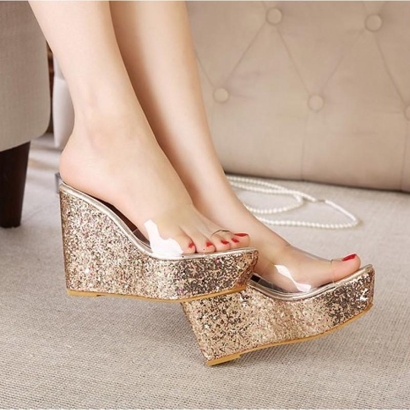 10f8d6123f2f Gold Glitter Bling Bling Sparkles Platforms Wedges Transparent Sandals Shoes