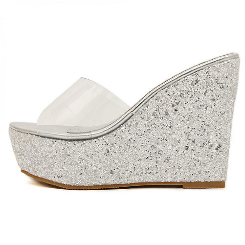 5d34625f8c2bb Silver Glitter Bling Bling Sparkles Platforms Wedges Transparent Sandals  Shoes