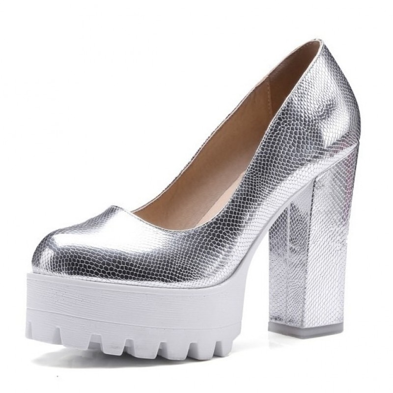 fdb58dd2b8aa Silver Metallic Chunky Cleated White Platforms Sole Block High Heels Shoes