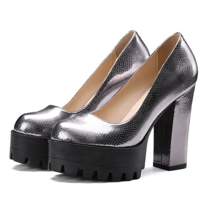 990e299a630c Silver Grey Metallic Chunky Cleated Black Platforms Sole Block High Heels  Shoes