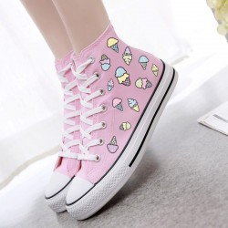 Pink Blue Pastel Color Ice-Creams High Top Lace Up Flats Sneakers Shoes