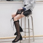 Black Meshed Sheer Long Knee Lace Up Combat Boots Shoes