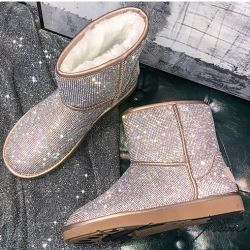 Gold Diamantes Crystals Bling Bling Eskimo Yeti Snow Boots Shoes