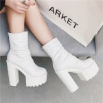 White Plain Punk Rock Chunky Sole Block High Heels Platforms Boots Shoes