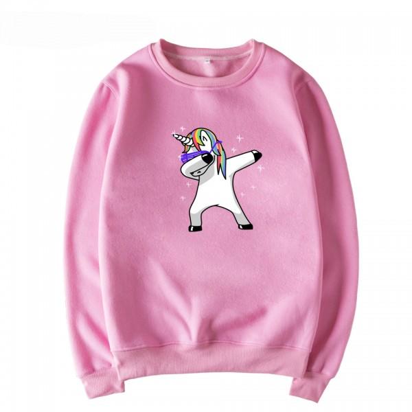 adbb224177538 Pink Rainbow Funky Dance Unicorn Cartoon Long Sleeves Sweatshirt