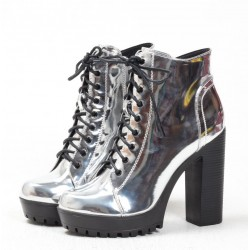 Silver Metallic Mirror Punk Rock Lace Up Chunky High Heels Combat Rider Boots
