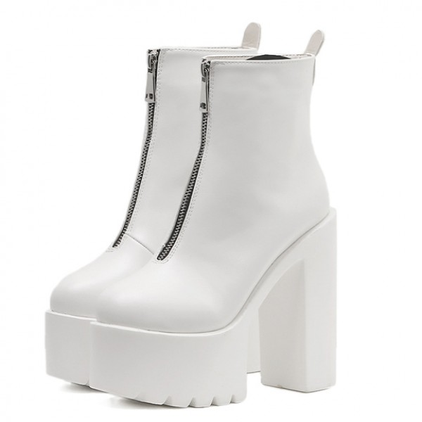White Zipper Chunky Sole Block High Heels Platforms Boots Shoes