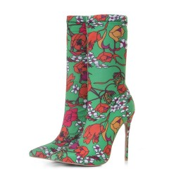 Green Floral Stretchy Point Head Ankle Stiletto High Heels Boots Shoes